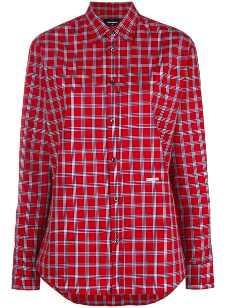 shirt plaid shirt women plaid cotton red top