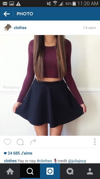 top crop tops red long sleeves outfit black skirt cute