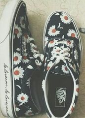 shoes,vans,daisy,swag,daisy vans,flowers,vintage,vans of the wall,best