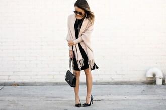 lace and locks blogger dress jewels shoes bag sunglasses high heel pumps black heels chanel chanel bag mini dress