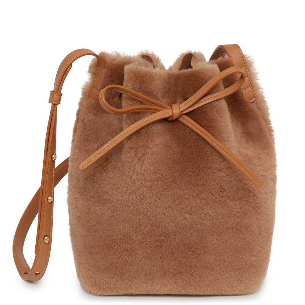 Mansur Gavriel Shearling Mini Bucket Bag - Camel