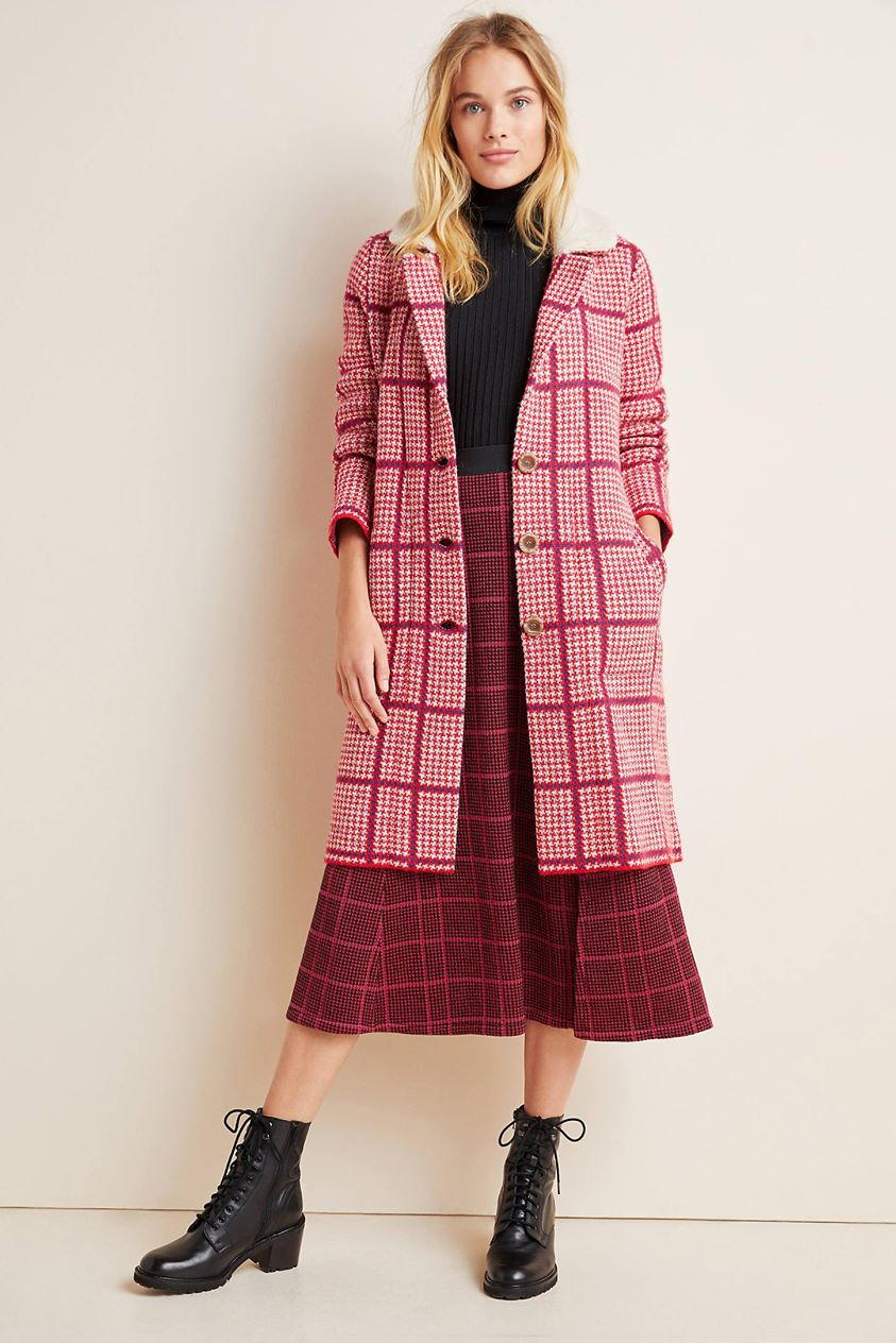 Petra Plaid Sweater Coat by Aldomartins in Pink
