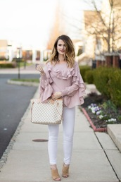 kiss me darling,blogger,blouse,jeans,ruffled blouse,ruffle shirt,ruffle,louis vuitton bag,mules,pink blouse,spring outfits,white jeans