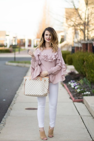 kiss me darling blogger blouse jeans ruffled blouse ruffle shirt ruffle louis vuitton bag mules pink blouse spring outfits white jeans