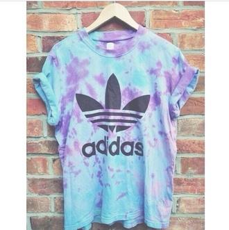 t-shirt adidas wings adidas cute tie dye blue skirt purple top blue shirt shirt
