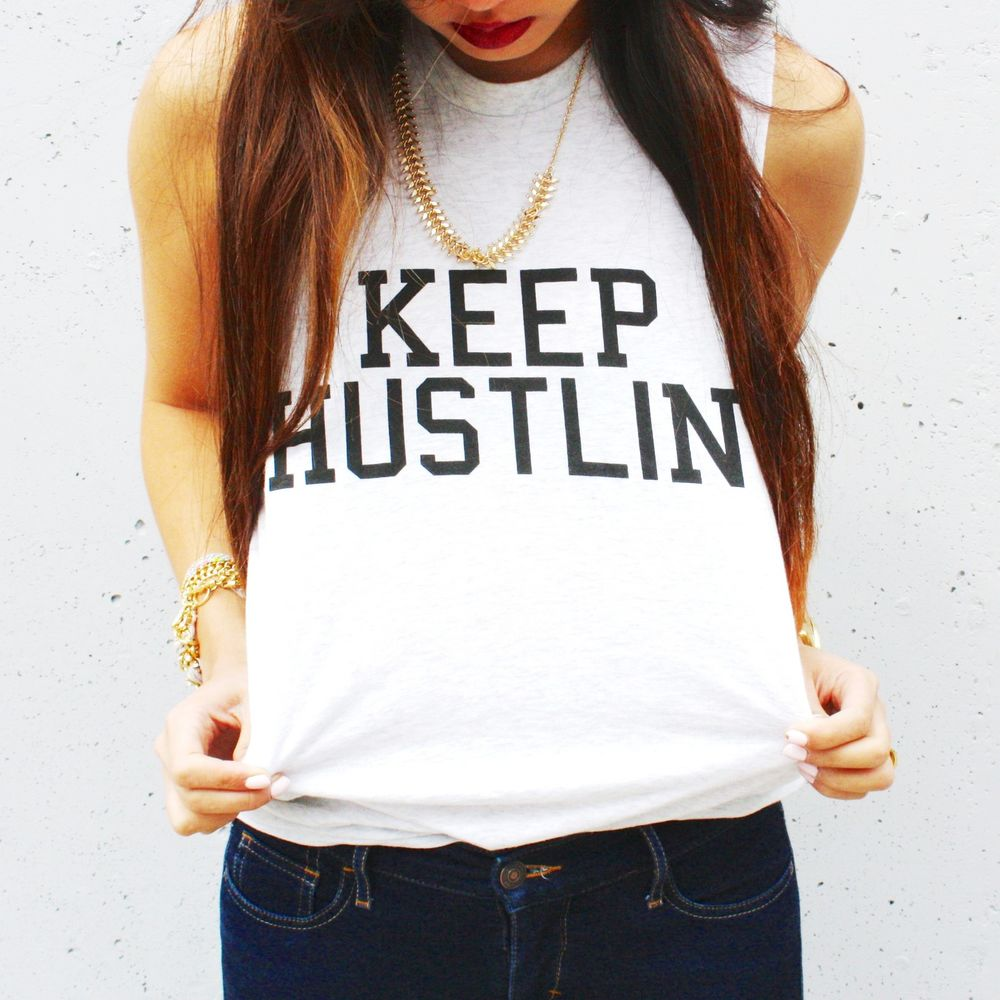 KEEP HUSTLIN' muscle tank (size S/M) ( wildfox, nasty gal, brandy melville )