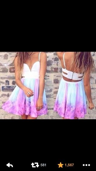 dress tie dye purple and blue skater dress
