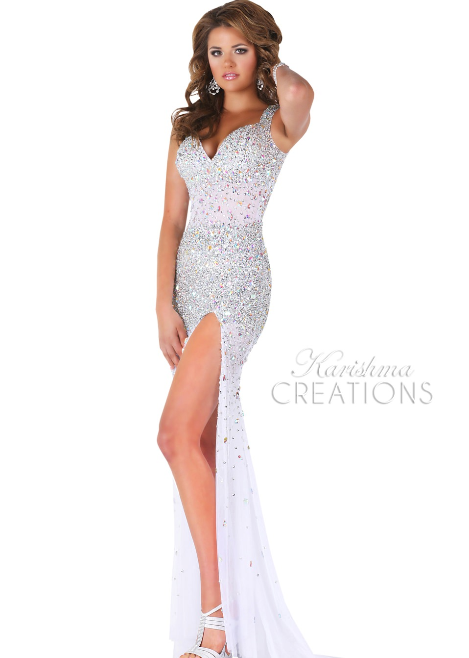 Karishma 3687 - White Sequin Fitted Sweetheart - RissyRoos.com