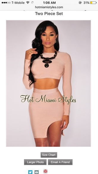dress two-piece set two piece dress set nude dress