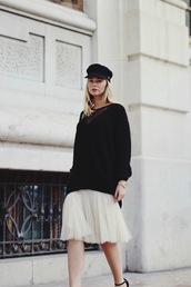 by vh,blogger,tulle skirt,fisherman cap,oversized sweater,black sweater,sweater,skirt,shoes