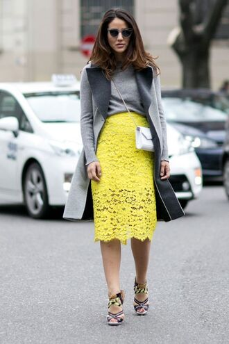 shoes printed sandals sandals sandal heels high heel sandals skirt midi skirt pencil skirt lace skirt top grey top coat grey coat bag white bag sunglasses streetstyle tamara kalinic blogger