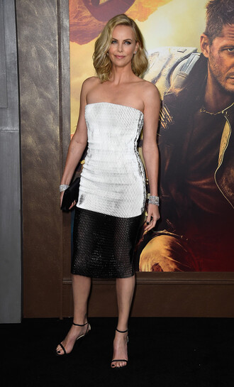 dress charlize theron mesh mesh dress black and white sandals