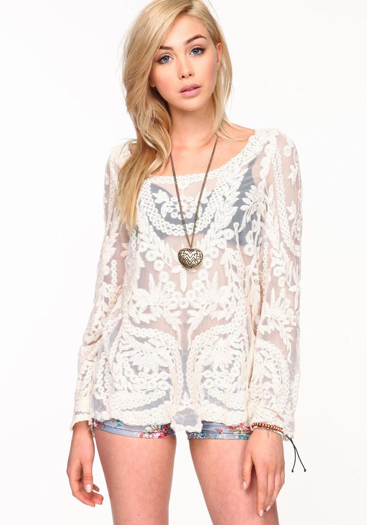 2014 New Black/Beige Sweet Semi Sexy Sheer Long Sleeve Embroidery Floral Lace Crochet Tee Top Dress Vintage Blouse DropShipping-in Dresses from Apparel & Accessories on Aliexpress.com