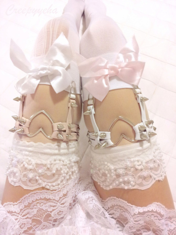underwear lingerie garter lace heart spikes bows stockings lingerie lolita tights spikd socks thigh highs spiked cute heart tumblr clothes socks knee high socks
