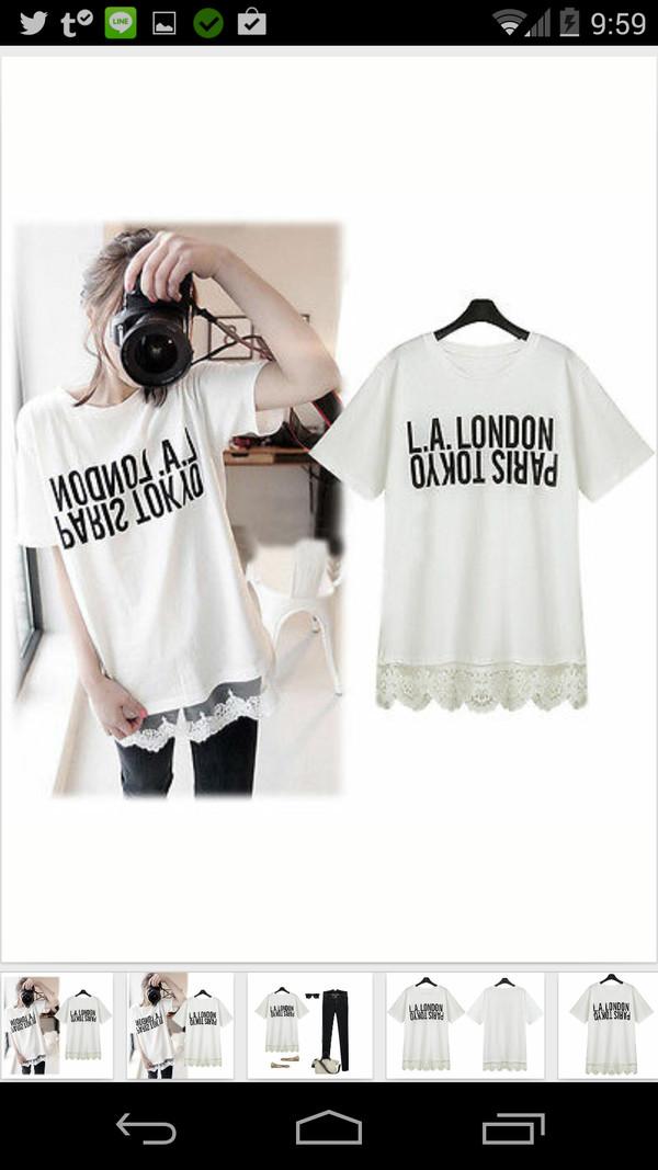 t-shirt l.a. london paris tokyo shirt white la tokio