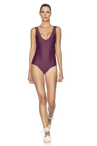 swimwear agua bendita burgundy monokini one piece one piece swimsuit bikiniluxe