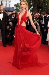 dress,red,hot,long dress,v neck