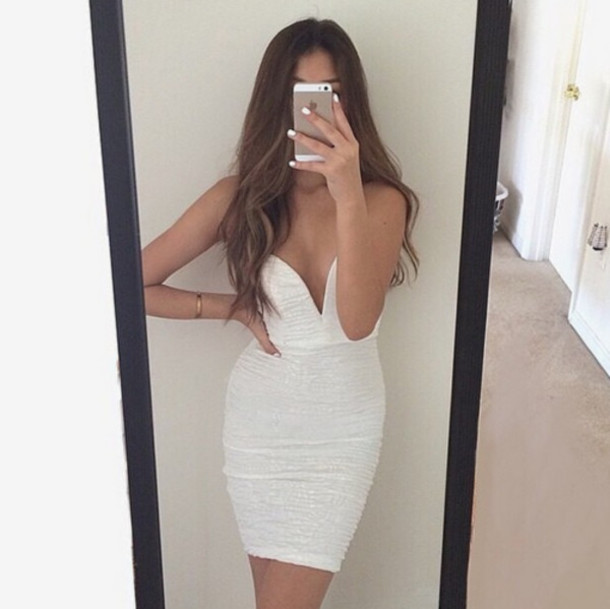 white dress mini short dress mini dress dress wedding indie fashion inspo brunette luxury beautiful white cocktail dress pretty awesome! party dress party outfits low cut midi midi dress summer dress fancy strapless lwd neckline angel