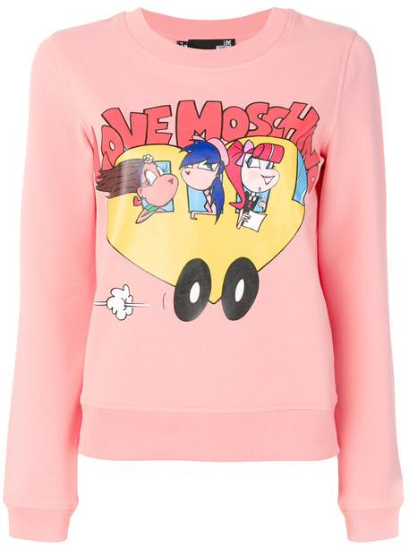 Love Moschino - logo print sweatshirt - women - Cotton/Spandex/Elastane - 40, Pink/Purple, Cotton/Spandex/Elastane