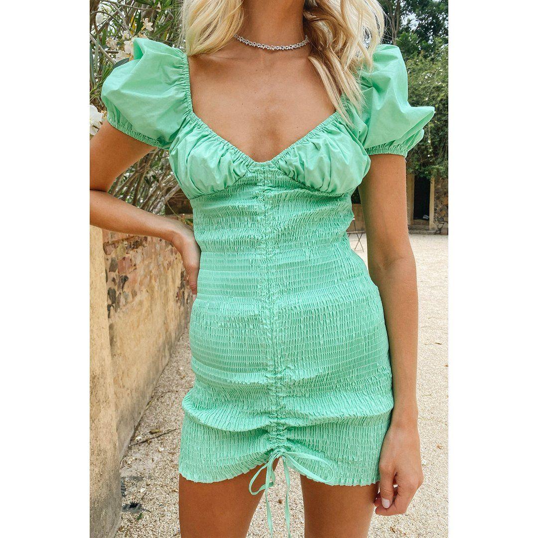 VG El Paradiso Shirred Mini Dress // Spearmint