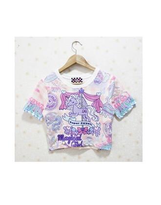 t-shirt unicorn unicorn shirt top crop tops pastel pastel goth unicorn tee tie dye tie dye shirt short magical magic magical girl super cute pastel pink pastel dress tie dye top crop top bustier print