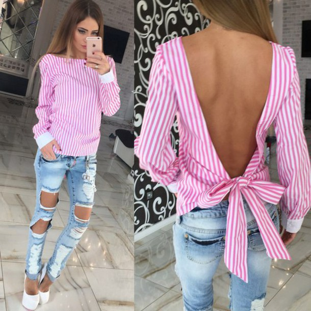 Shirt: striped top, pink top, backless, long sleeves, ripped jeans ...