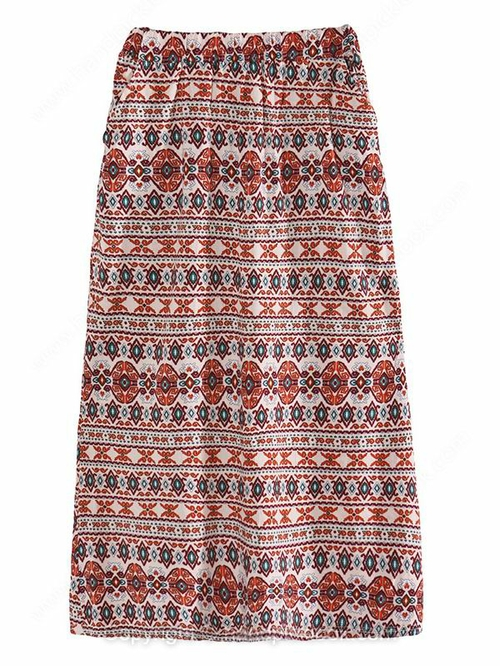 Red Drawstring Waist Ethnic Pattern Print Skirt - HandpickLook.com