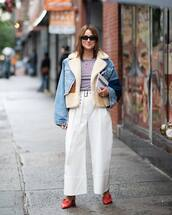 pants,wide-leg pants,white pants,cropped pants,pumps,blouse,denim jacket,faux fur jacket,sunglasses