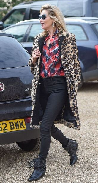 coat animal print leopard print shirt fall outfits ankle boots kate moss fur coat pants fringe shoes shoes