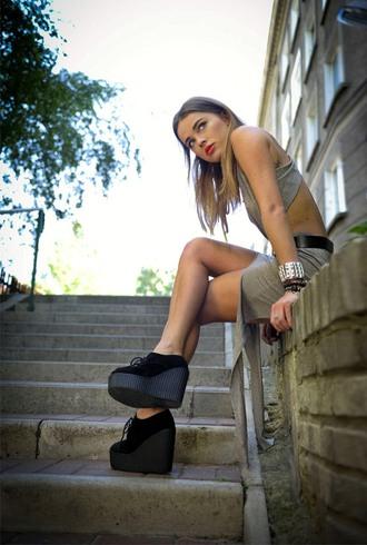 shoes heels high heels lace up wedges black shoes dress skirt shirt bracelets belt creepers red lipsstick statement bracelet