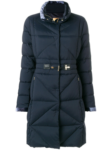 FAY coat women quilted blue silk