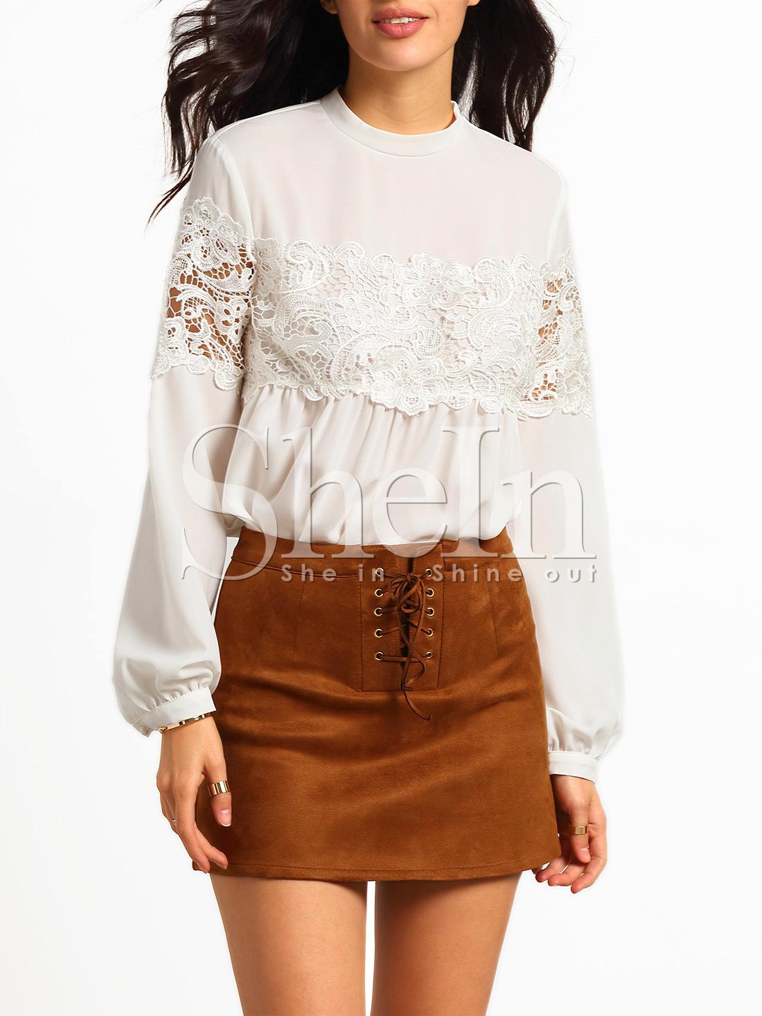 Блузы вставки кружева 44