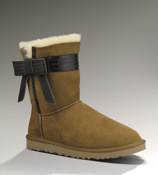 Damen Ugg Josette Bow Boots Chestnut - - €95.94
