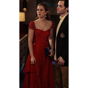 Leighton meester (blair) red prom dress in gossip girl season 5