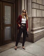 jacket,blazer,houndstooth,pants,black pants,mules,white blouse,sunglasses,handbag