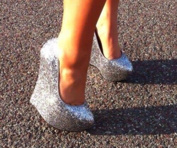 c1df8b806e4 shoes silver glitter wedges sparkle wedges platform shoes prom shoes pumps  high heels silver shoes sparkly