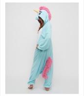pajamas,unicorn onesie.,blue and pink,onesie,jumpsuit