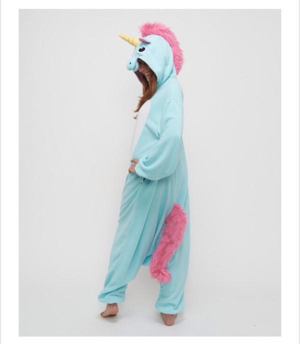 pajamas unicorn onesie. blue and pink onesie jumpsuit