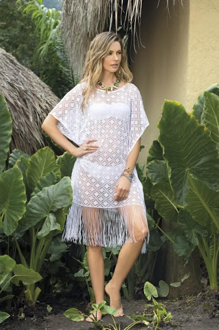 SAHA - White Fringe Cover-up | Shop Miami Style
