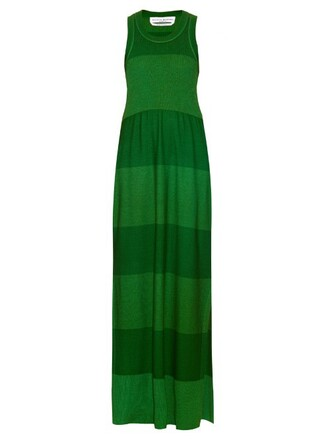 dress silk wool green