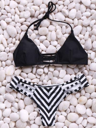 Trendy Spaghetti Straps Stripes Bikini Set For Women