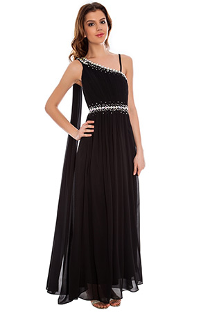 One Shoulder Chiffon Maxi Dress