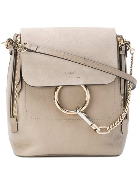 Chloe women backpack leather suede grey bag