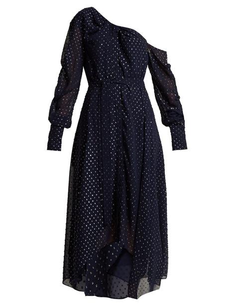 JONATHAN SIMKHAI Asymmetric metallic dress in navy / silver