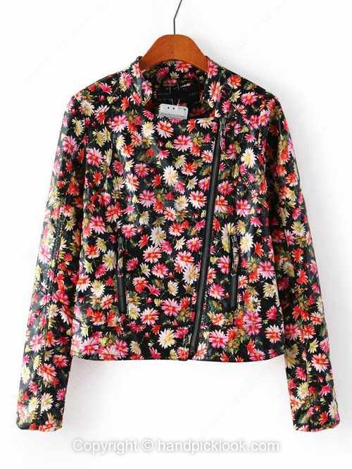 Black Long Sleeve Floral Print Coat - HandpickLook.com