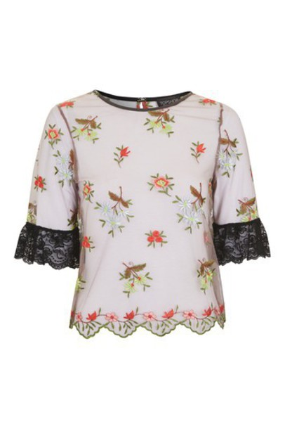 Topshop top embroidered lace