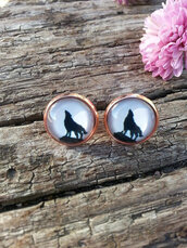 jewels,the glitzy hen,wolf,wolf earrings,rose gold,gold earrings,full moon,moon earrings