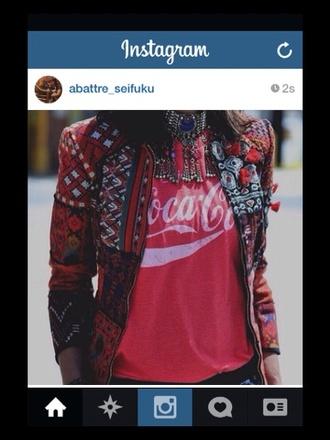jacket print jacket boho style hippie boho gypsy t-shirt jewels