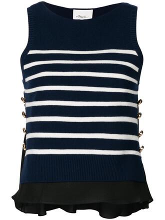 top striped top sleeveless women spandex blue silk