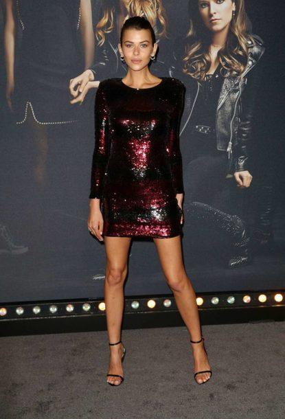 dress georgia fowler mini dress sequins sequin dress party dress model off-duty sandals